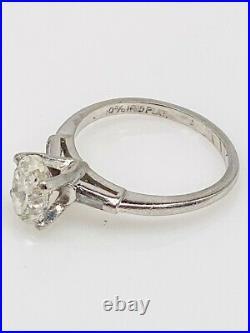 Antique 1950s $6000 1.33ct OVAL CUT SI2 J Natural Diamond Platinum Wedding Ring