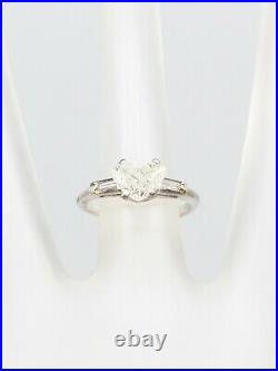 Antique 1950s $7000 1.50ct SI I Natural HEART CUT Diamond Platinum Wedding Ring