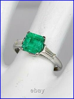 Antique 1950s $7000 3ct AAA+++ Colombian Emerald Diamond Platinum Wedding Ring