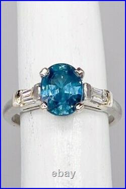 Antique 1950s $7000 3ct Natural BLUE Sapphire Diamond Platinum Wedding Ring