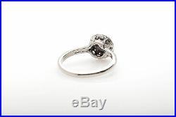 Antique 1950s. 75ct Diamond 14k White Gold HALO Wedding Ring