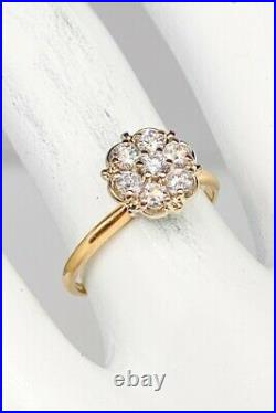 Antique 1950s. 75ct Si1 H Diamond FLOWER Cluster 14k Yellow Gold Wedding Ring