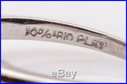Antique 1960s $25,000 4ct BLUE HPHT GENUINE Diamond Platinum Wedding Ring