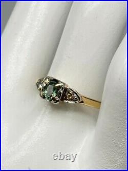 Antique $2400.40ct Natural Alexandrite Diamond 14k Yellow Gold Wedding Ring