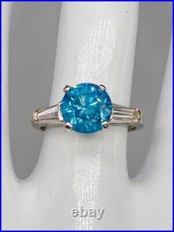 Antique $25,000 4ct Blue Round Diamond Platinum Wedding Ring HPHT RARE