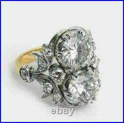 Antique 4.20. Ct Diamond White Round Art Deco Vintage Wedding Ring 925 Silver bK1