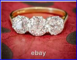 Antique 4.25. Ct Diamond White Round Cut Art Deco Vintage Wedding Ring 925 Silver
