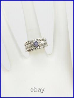 Antique $5000 1ct Natural Alexandrite Diamond 14k White Gold Wedding Ring SET