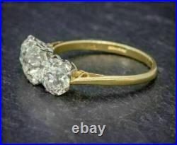 Antique 5.25. Ct Diamond White Round Cut Art Deco Vintage Wedding Ring 925 Silver