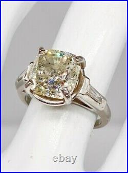 Antique $75,000 5.38ct SI1 L Cushion Cut Natural Diamond Platinum Wedding Ring