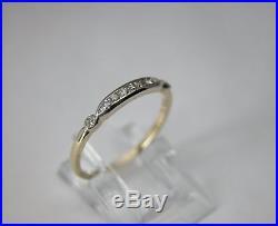 Antique Art Deco 14k Gold Diamond Wedding Band Ring Single Cut Vintage 1930s