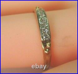 Antique Art Deco Estate Diamond Wedding Band 14K Yellow White Gold Rg Sz 6.25