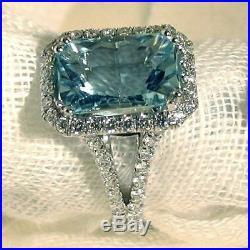 Antique Art Deco Vintage 2.25Ct Radiant Cut Aqua Diamond Engagement Wedding Ring
