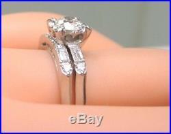 Antique Art Deco Vintage Diamond Bridal Set Engagement Platinum Rg Sz 7 EGL USA