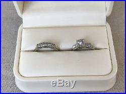 Antique Art Deco Vintage Diamond Engagement&Wedding Band Bridal Ring Set 14k 6.5
