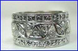Antique Art Deco Vintage Diamond Wedding Band 14K White Gold Ring SZ 7.5 EGL USA