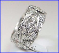 Antique Art Deco Vintage Diamond Wedding Eternity Band Platinum Size 5.75 UK-L