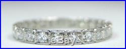 Antique Art Deco Vintage Diamond Wedding Eternity Platinum Ring Size 7.25 UK-O
