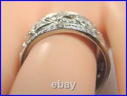 Antique Art Deco Vintage Wedding Band 14K White Gold Ring Sz 7.5 UK-Q1/2 EGL USA
