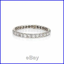 Antique Deco Diamond Ring Platinum Eternity Sz 5.5 Vintage Wedding Band Old