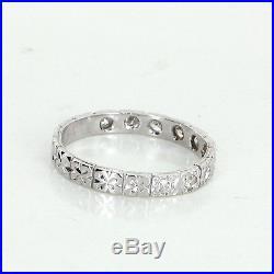 Antique Deco Diamond Vintage 18k Gold Embossed Flowers Wedding Band Ring Sz 5.5