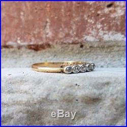 Antique Diamond 5 Stone Wedding Anniversary Stacking Band Ring Vintage Art Deco