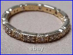 Antique Diamond Wedding Band Ring Art Deco Bridal Vintage Estate Sterling Silver
