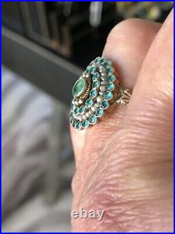 Antique Edwardian Emerald Seed Pearl Ring Size 8 Engagement Wedding Anniversary