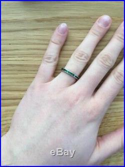 Antique Emerald Paste Eternity Band Edwardian Vintage Wedding Stacking Ring