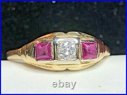 Antique Estate 14k Gold Natural Diamond & Ruby Ring Wedding Engagement Art Deco