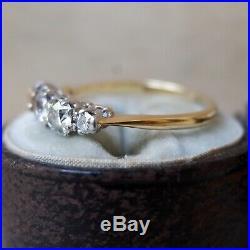 Antique Mine Cut Diamond Wedding Ring 14k White Yellow Gold Eternity Vintage