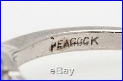 Antique Signed Peacock 1930s $9000 1.30ct Old Euro Diamond Platinum Wedding Ring