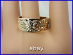 Antique Victorian Vintage 10K Rose Gold Wedding Ring Band 7.7 mm
