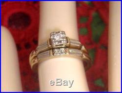 Antique Vintage 14K 18K Diamond Wedding Bridal Set Engagement Ring & Band Box