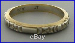 Antique Vintage 14k Two Tone Gold Ring Eternity Flower Wedding Band Size 5.5