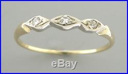 Antique Vintage 14k Yellow Gold Ladies Diamond Ring Wedding Band