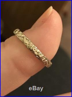 Antique Vintage 18k White Gold Orange Blossom Wedding Band Ring