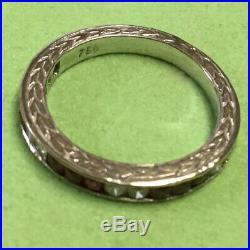 Antique Vintage 1920 Ruby Diamond Wedding Band Ring 18 Karat White Gold
