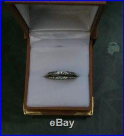Antique Vintage 1940s Diamond 14kt White Gold Wedding Band Ring Guard Stacking