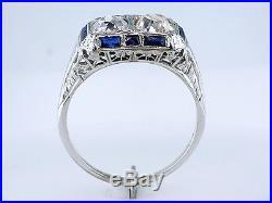 Antique Vintage 2.42ct 2 Stone Diamond Sapphire Art Deco Engagement Wedding Ring