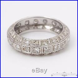Antique Vintage. 950 Platinum. 57 C Diamond Eternity Wedding Ring Band! Sz 5.5