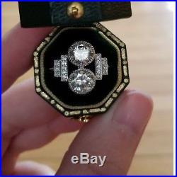 Antique Vintage Art Deco Bezel Set Engagement Wedding Moissanite Silver 925 Ring