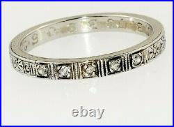 Antique Vintage Art Deco Diamond Wedding Band 18K White Gold Ring Size 6.5