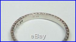 Antique Vintage Art Deco Diamond Wedding Band Platinum Ring Sz 6.75 UK-N EGL USA
