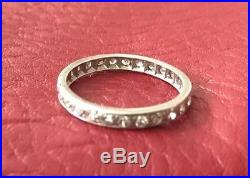 Antique Vintage Art Deco Diamond Wedding Band Platinum Ring Sz 7.25-7.5