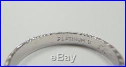 Antique Vintage Art Deco Wedding Band Platinum Ring Size 4.5 UK-I MFG B Engraved