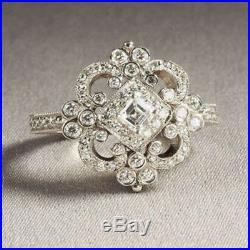 Antique Vintage Art Deco Wedding Diamond Engagement Ring 14k Solid White Gold