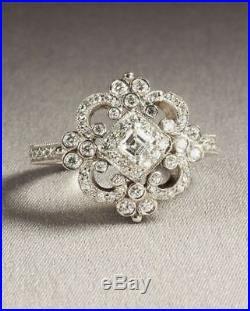 Antique Vintage Art Deco Wedding Engagement Ring 14k White Gold