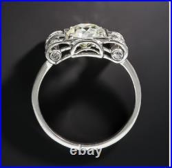 Antique Vintage Art Deco Wedding Milgrain Ring 14K White Gold Over 2.2Ct Diamond