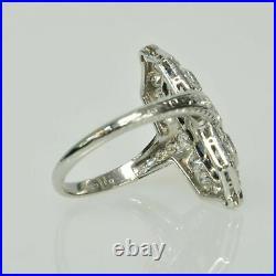 Antique Vintage Art Deco Wedding Ring 2.28 Ct Blue Sapphire 14K White Gold Over
